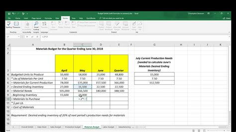 managerial accounting excel template  formulas