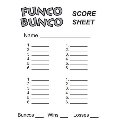sample bunco score sheets templates