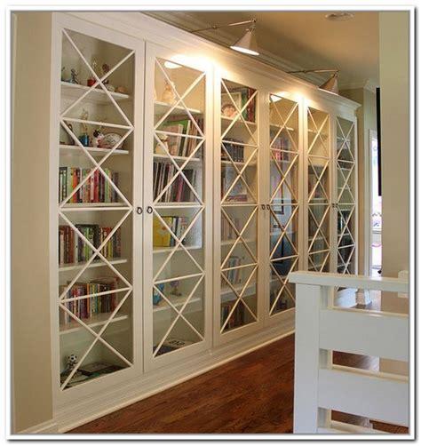 white bookcase  glass door  elgant interior