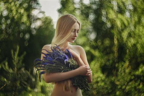 Wallpaper Blonde Belly Women Outdoors Flowers Bokeh