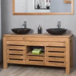 Meuble De Salle De Bain En Teck Vasque meuble sous vasque double vasque en bois teck massif