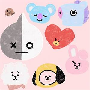 """""""BTS21 Line Character- In Pastel!"""" Stickers by catsenpai"""