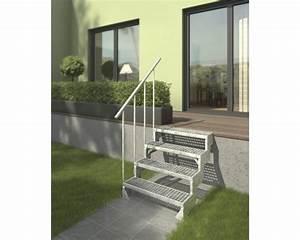 Escalier exterieur gardentop set 3 ensemble de rampe pour for Escalier exterieur 6 marches