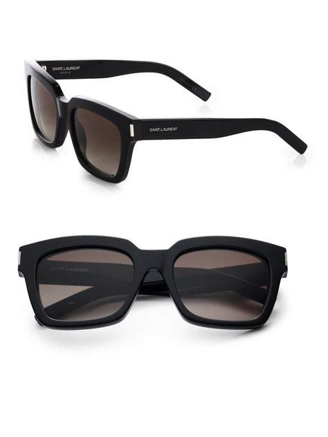lyst laurent thick square acetate sunglasses in