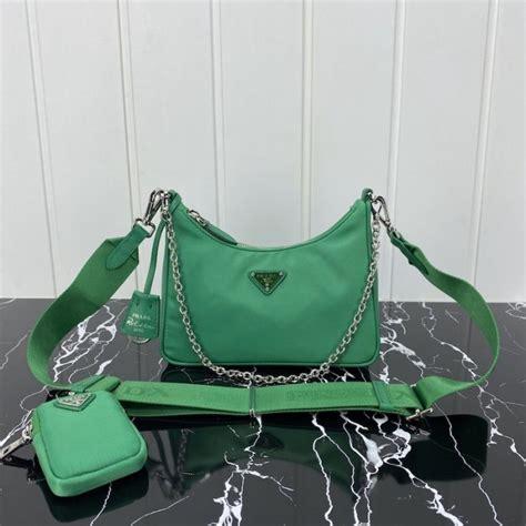 prada  edition  nylon shoulder bag green