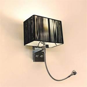 Lampe Mit Glasfuß : twine wandleuchte mit led lesearm und stoffschirm hotellampe leselampe schwarz kaufen bei ~ Indierocktalk.com Haus und Dekorationen