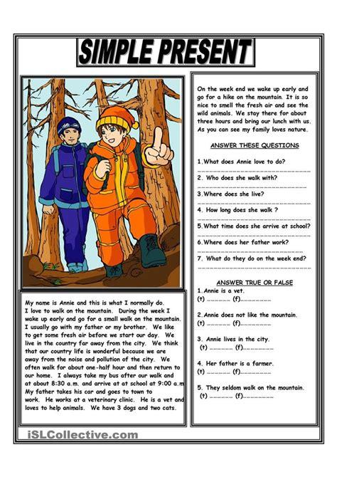 simple present reading comprehension text aulas de