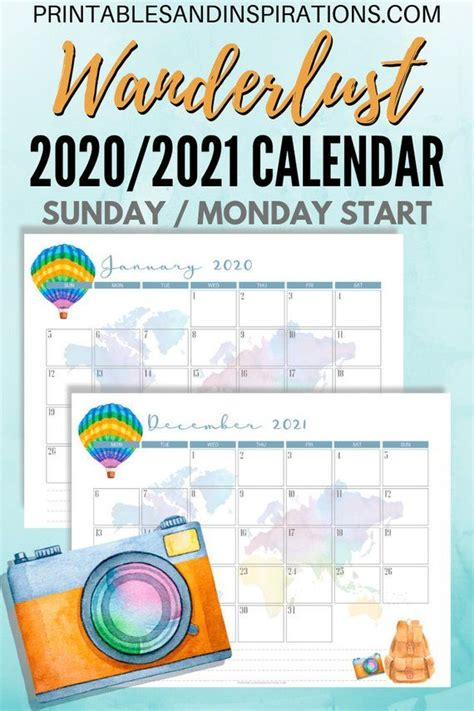 calendar  calendar wanderlust travel themed