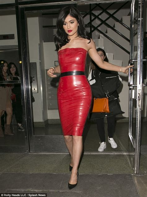 kylie jenner channels betty boop  red latex dress
