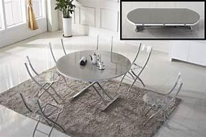 Table Ronde Grise : table basse ronde relevable et extensible planet gris clair ~ Teatrodelosmanantiales.com Idées de Décoration