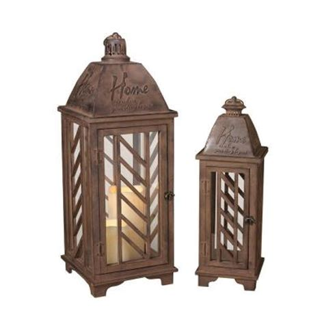 rustic brown metal lantern set of 2 2000418 the home depot