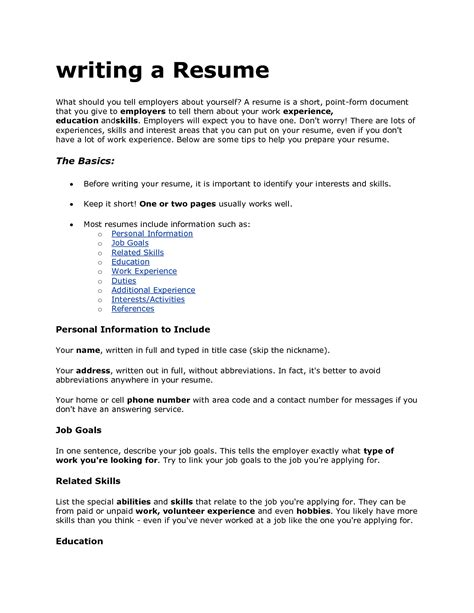writing a resume jvwithmenow