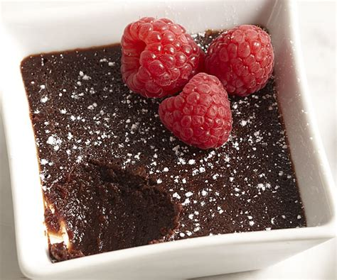 molten chocolate cakes  raspberries recipe finecooking