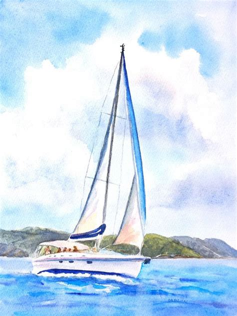 Watercolor Boat by Sailboat Painting Original Watercolor Boat By
