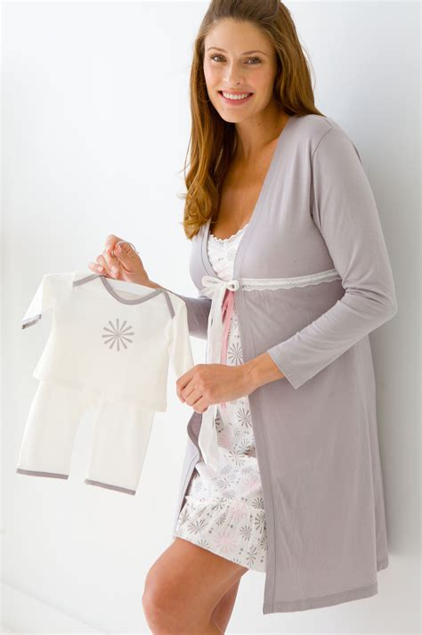 A Comfortable Neutral Color Nightgown For Pregnancy This