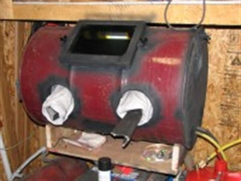 homemade sand blast cabinet from 55 gallon barrel