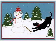 Snow Pals Black Lab and Snowman Laura Megroz Dog