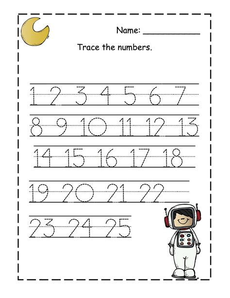 april 2013 preschool printables 128 | Moon trace the numbers 1 25