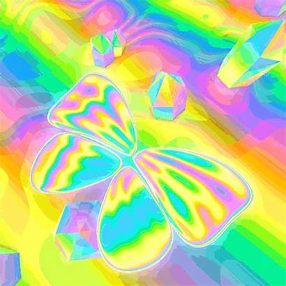 Trippy Rainbow Gifs Butterfly Psychedelic Butterflies Perspective