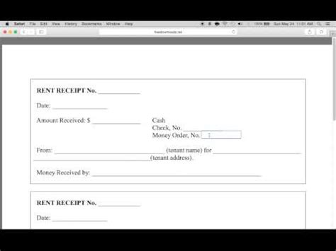 write  monthly rental receipt form  template