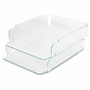 lorell stacking letter trays clear green acrylic 1 With clear stackable letter trays