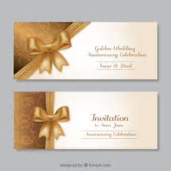golden wedding anniversary invitations golden wedding anniversary invitations vector free
