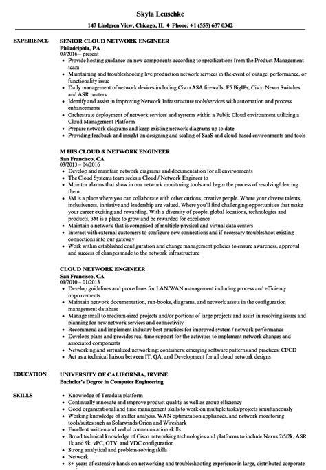 Network Engineer Resume by Cloud Network Engineer Resume Sles Velvet