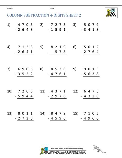 3rd grade math worksheet 3 digit subtraction 4 digit subtraction worksheets