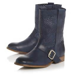 womens boots navy blue bertie ronda womens navy blue punch ankle calf boots size 3 8 ebay