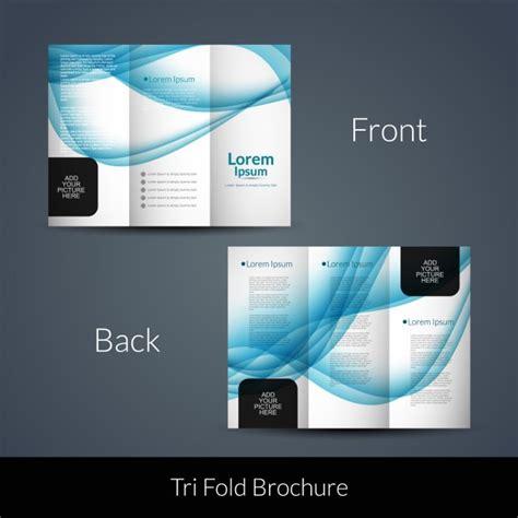 Blue Waves Tri Fold Brochure Vector