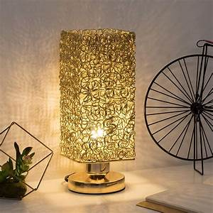 Modern, Nightstand, Lamp, With, Square, Wiring, Shade, Gold