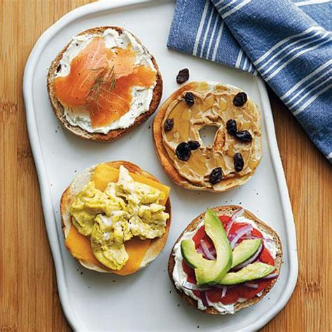light breakfast ideas build your own bagel family breakfast recipes cooking