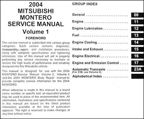manual repair autos 2004 mitsubishi montero sport regenerative braking 2004 mitsubishi montero repair shop manual original set