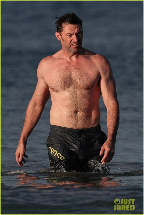 hugh jackman runs shirtless   beach   ripped