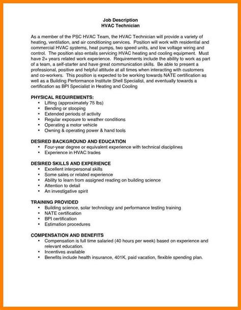 hvac installer job description for resume 6 hvac installer job description action words list