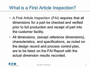 Supplier overview training document cqd 116 rev 1 1 15 for First article inspection procedure template