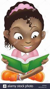 Illustration of a young sweet black girl child happily ...