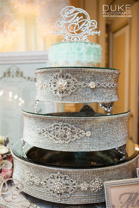 round silver rhinestone cake stand for wedding