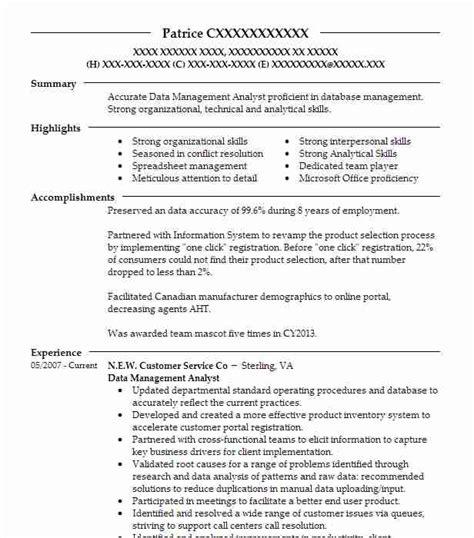 Data Management Resume Sle by Data Management Analyst Objectives Resume Objective