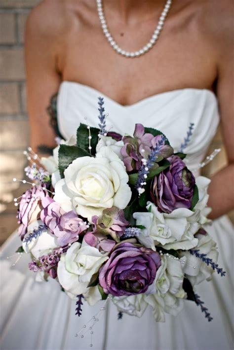 purple  white wedding bouquet