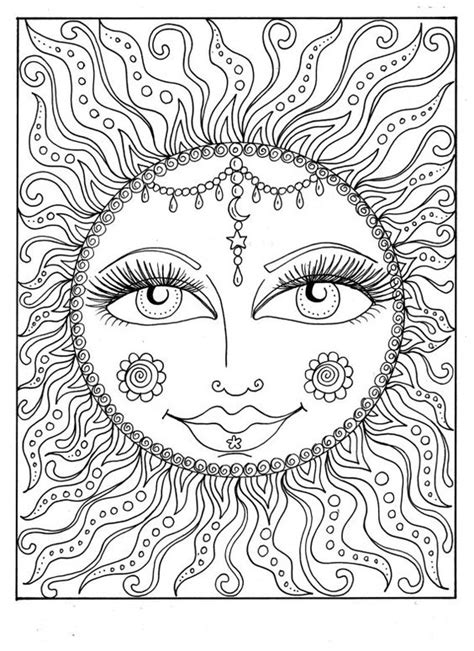 instant  sun summer coloring page adult coloring