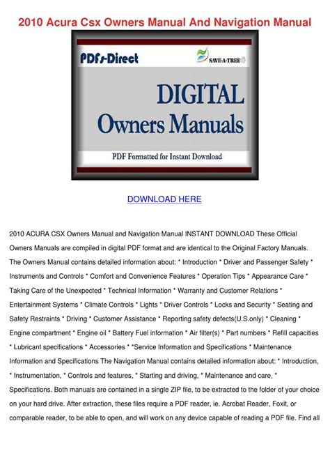 manual repair free 1997 acura slx security system 2010 acura csx owners manual and navigation m by leighlawler issuu