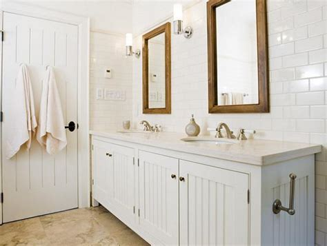 Beadboard Cabinets  Cottage  Bathroom  Taylor Hannah