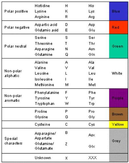 Amino Acid Properties Table