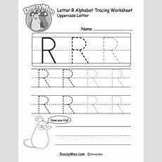 Uppercase Letter R Tracing Worksheet  Doozy Moo