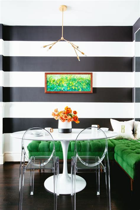 bold black  white breakfast nook  thick wall