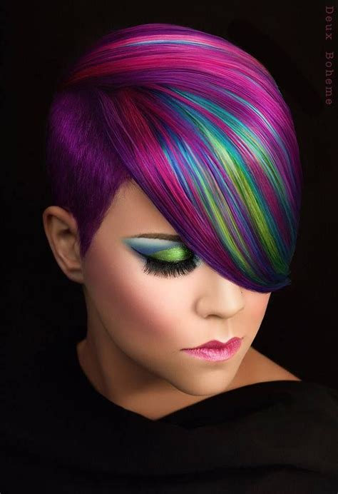 This Purple And Pink Hair Accented With Blue And Green By