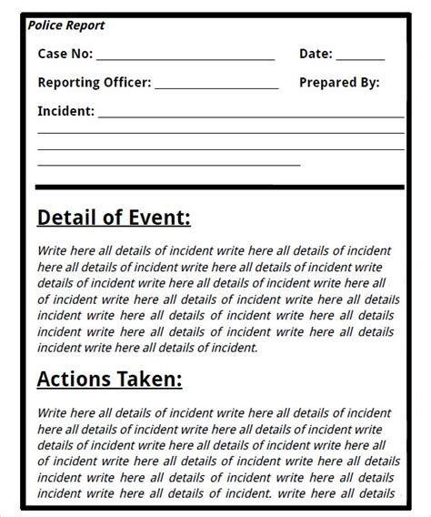 sample police reports sample templates