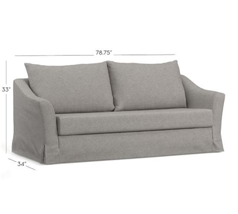 soma brady slope arm sleeper sofa mattress pad moleskin smoke soma brady slope arm slipcovered sleeper sofa pottery barn