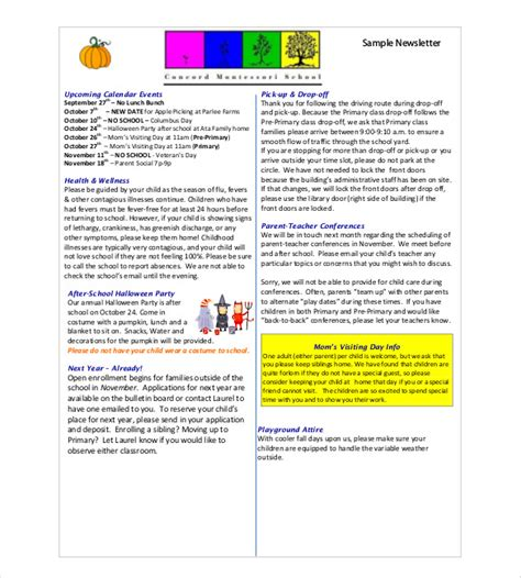 classroom newsletter template   word